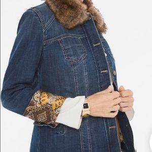 Chico's Faux Fur collar (removable) denim jacket